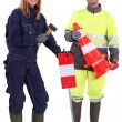 A couple of road workers. — Stock Photo