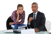 Portrait of a businessman with his secretary — Stock Photo