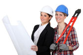 Female architect and builder — Stock Photo