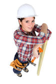 High-angle shot of a female construction worker — Stock Photo
