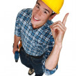 Stock Photo: Builder with genius idea