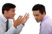 Two young businessmen having an argument — Stock Photo