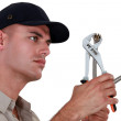Stock Photo: Worker with wrench