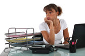 Secretary bored at work — Stock Photo
