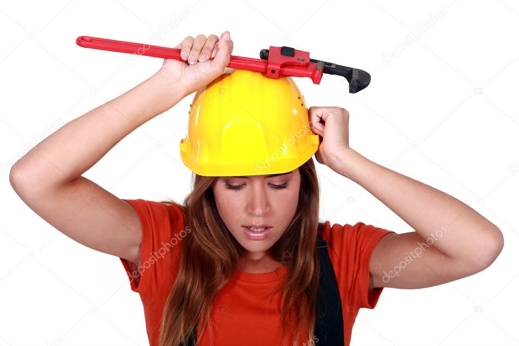 Unhappy Construction Worker a Female Construction Worker