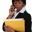 Businesswoman making important call — Stock Photo