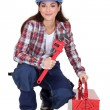 Woman with an adjustable wrench — Stock Photo