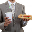 A businessman about to eat lunch — Stock Photo