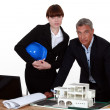 Stock Photo: Architect and colleagues preparing business proposal