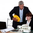 Experienced architect giving a young colleague advice - Stock Photo
