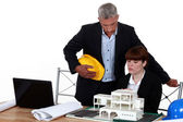 Experienced architect giving a young colleague advice — Stock Photo