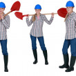 Woman standing with shovel — Stock Photo #17101397