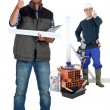 Thumbs up from a construction duo — Stock Photo #17102149