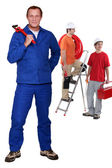 Manual worker with step ladder — Stock Photo