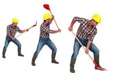 Three shots of a construction worker with a shovel — Stock Photo
