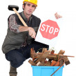 Foreman showing stop sign — Stock Photo