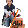 Kid dressed as labourer — Stock Photo