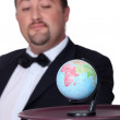 Stock Photo: Concept shot showing world on platter