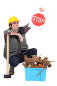 Builder urging you to recycle — Stock Photo