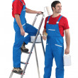 Two painters with step-ladder - Stockfoto