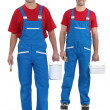 Painters with blue overalls and red-shirt — Stockfoto #17121161