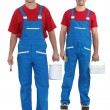 Painters with blue overalls and red-shirt — Stockfoto