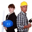 Architect and construction worker - Stock Photo