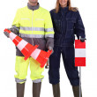 Construction workers with cones — Stock Photo
