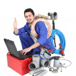 Plumber, studio shot — Stock Photo