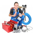 Stock Photo: Successful woman plumber