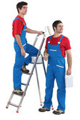 Two painters with step-ladder — Stock Photo