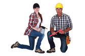 Craftsman and craftswoman posing together — Foto de Stock