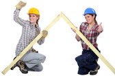 Female carpenters rejoicing — Stock Photo