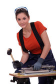 Female tiler — Stock Photo