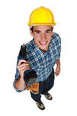 Carpenter stood with cordless drill — Stock Photo