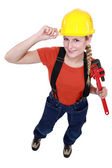 Blond manual worker reporting for duty — Stock Photo