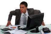 En irriterad affärsman — Stockfoto