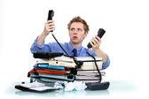 Män överväldigad på jobbet — Stockfoto