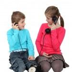 Kids using old-fashioned telephone — Stock Photo #17330063