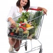 Woman with cart full of vegetables - Stok fotoğraf