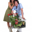 Couple stood with trolley full of vegetables — Stock Photo #17334205