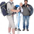 Stock Photo: Friends ready to go hiking