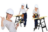 Confident woman using a workbench — Stock Photo