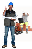 Thumbs up from a construction team — Stock Photo