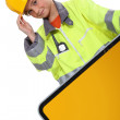 Little girl dressed as a security road worker - Stock Photo