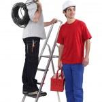 iş başlamak üzere iki elektrikçi — Stok fotoğraf