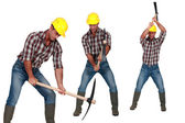 Man with a pickaxe — Stock Photo