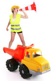 Female traffic guard yelling into a traffic cone and riding a truck — Stock Photo
