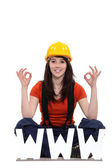 Tradeswoman thankful for modern technology — Stock Photo