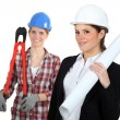 Stock Photo: Females construction workers